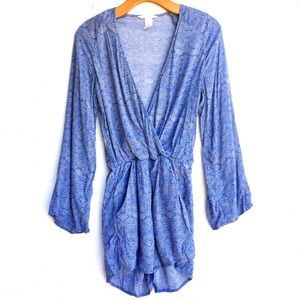 H&M | Long Sleeve Blue Geometric Patterned Romper